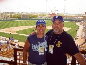 Authors Dennis and Cheryl DeNoi in the owner's box at Camelback Ranch-Glendale, home of the Los Angeles Dodgers.