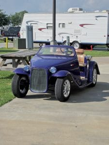Tricked-out golf carts like this one are common at Cajun Palms