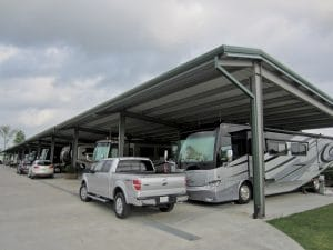 A view of Cajun Palms' 12 covered executive RV sites